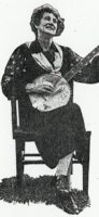 Aunt Samantha Bumgarner picking her banjo WNC folk music